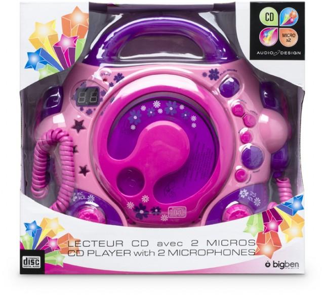 Lettore CD con 2 microfoni (Rosa) - Packshot
