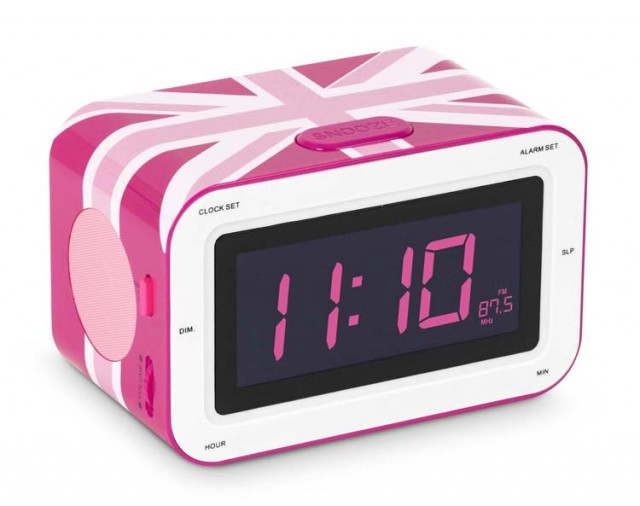 "Radiosveglia con doppio allarme ""Girly UK Flag"" - Packshot"