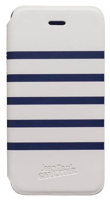 "Folio Case ""Marinière"" Jean Paul Gaultier (white & navy) - Packshot"