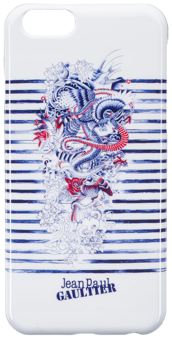 "Back cover Jean-Paul Gaultier ""Tatoo"" (White&blue) - Packshot"