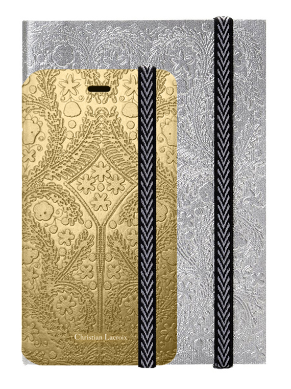 "CHRISTIAN LACROIX folio case ""Paseo"" (Gold) + notebook ""Paseo"" (Silver) - Packshot"