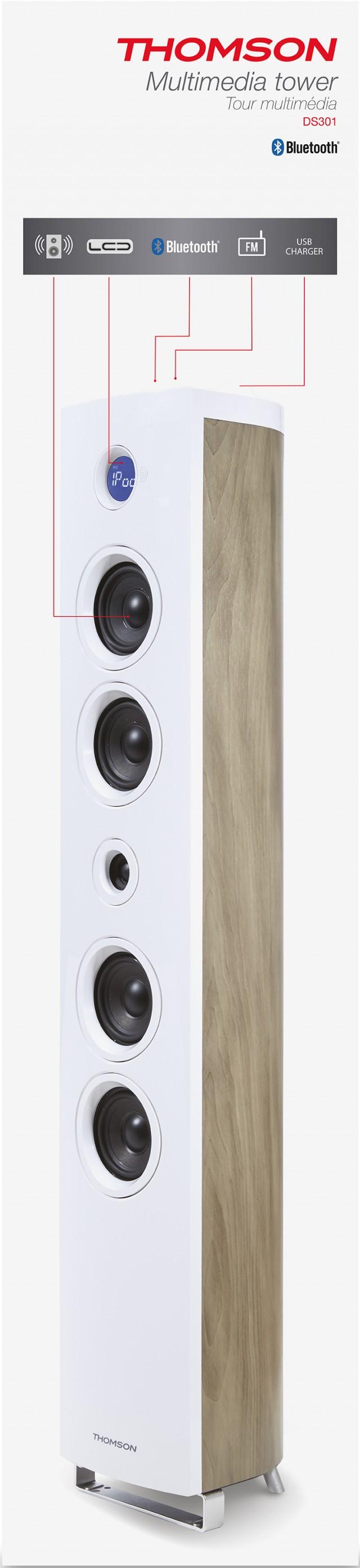 Multimedia Tower 'Wood' (White) – Immagine #2