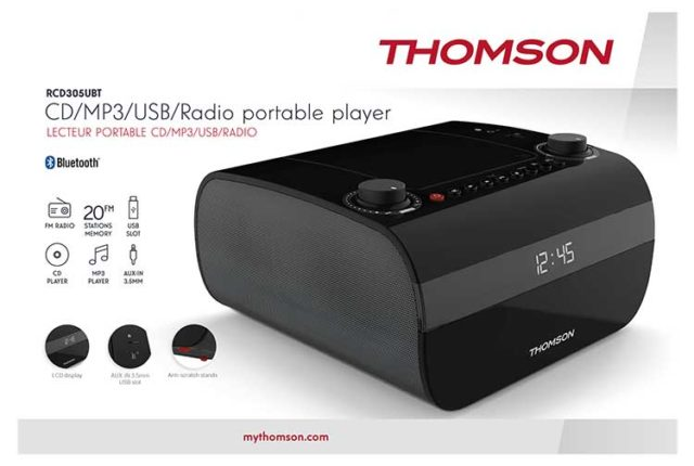 CD/MP3/USB/RADIO portable player RCD305UBT THOMSON – Immagine#2tutu